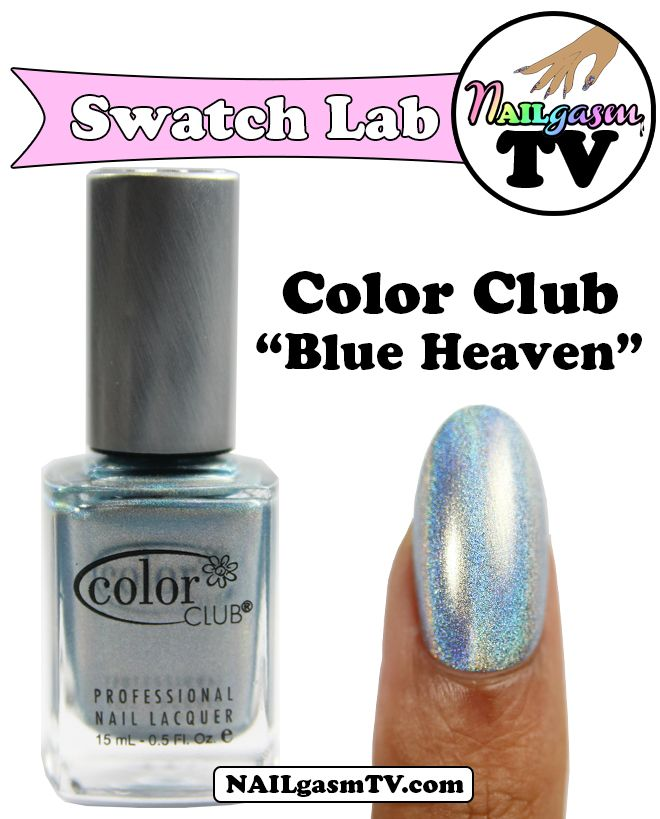 """Color Club Holographic Nail Polish Swatches: Color Club """"Blue Heaven"""" Holographic Nail Polish"""