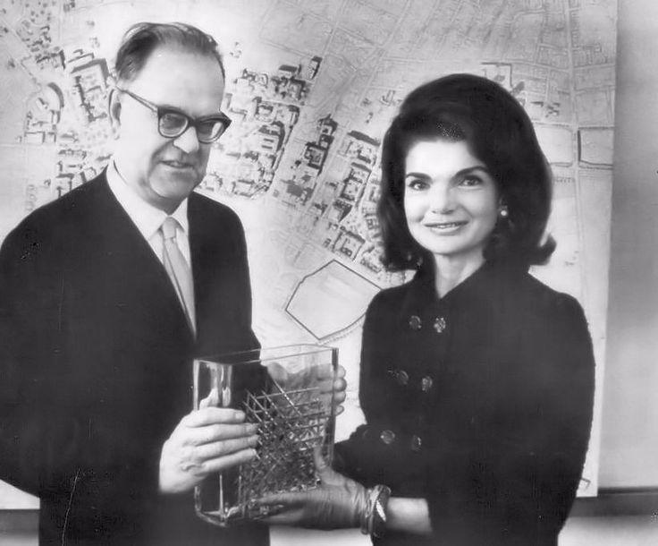 With Swedish PM Tage Erlander, giving glass artwork, Nov. 10, 1965