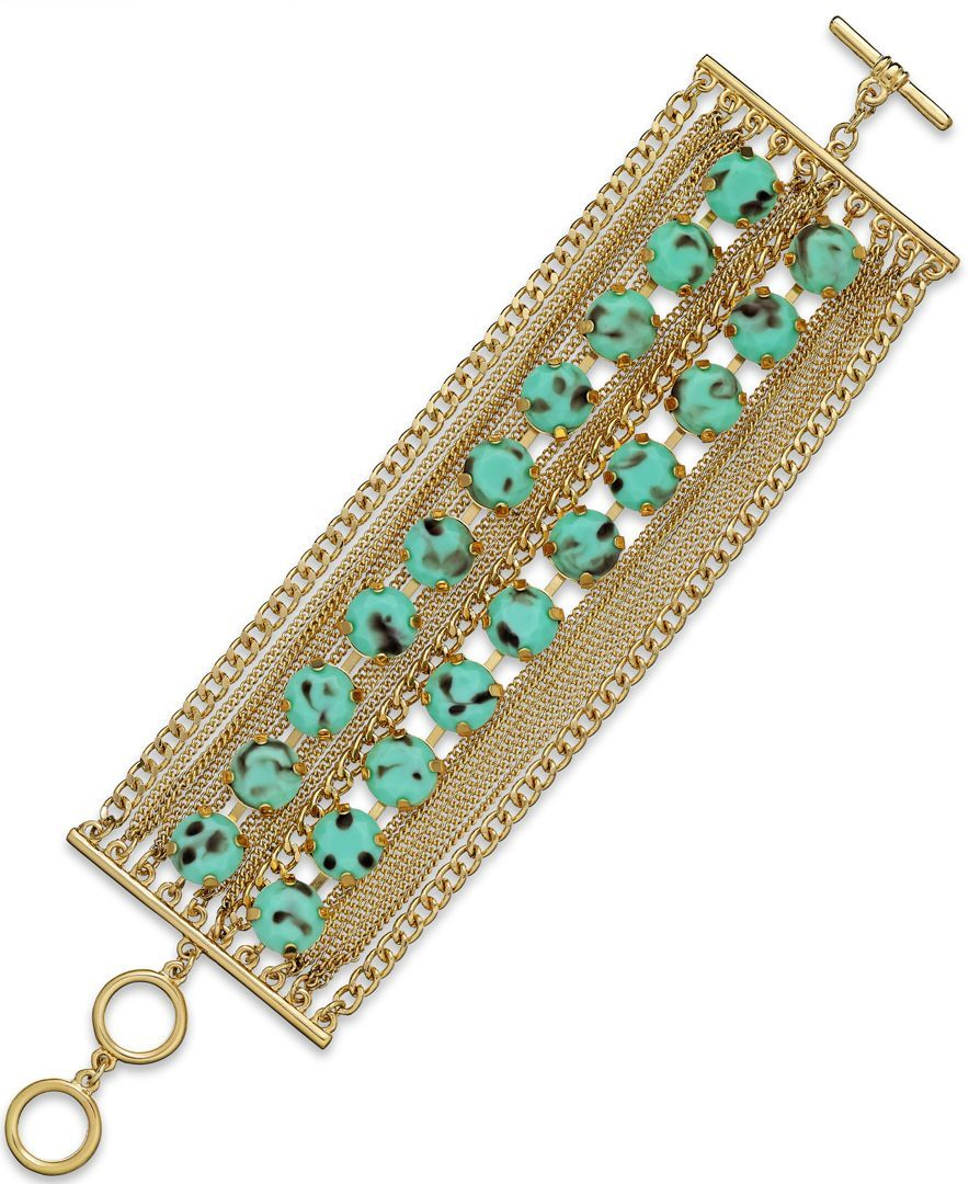 Abs by Allen Schwartz Gold-Tone Turquoise Multi-Row Toggle Bracelet