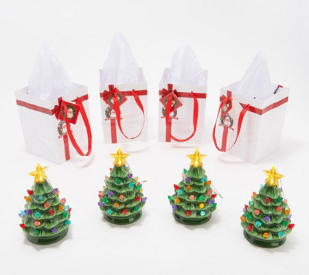 Mr Christmas Set Of 4 Lit Nostalgic Tree Ornaments With Gift Bags Qvc Com Christmas Settings Tree Ornaments Christmas In July Sale