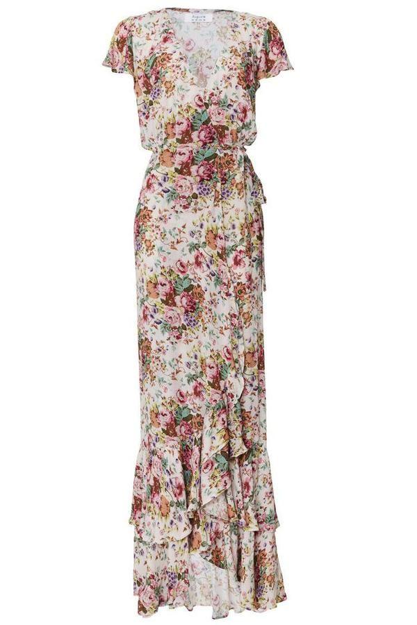 3ac4e466e6 Auguste Resort '17 || Beach house frill wrap maxi dress in Longbeach floral  natural