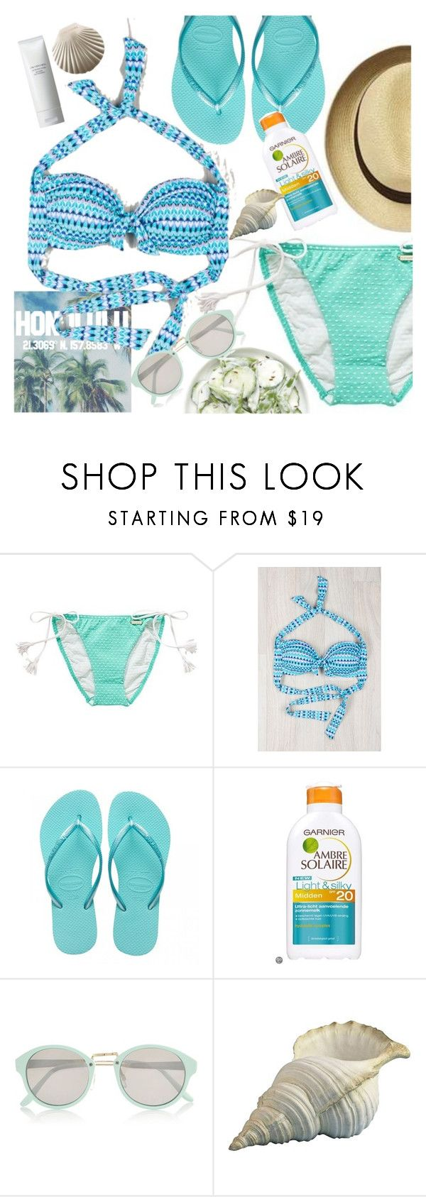 """into the blue"" by sanddollardubai ❤ liked on Polyvore featuring Sunseeker, Havaianas, River Island and Shiseido"
