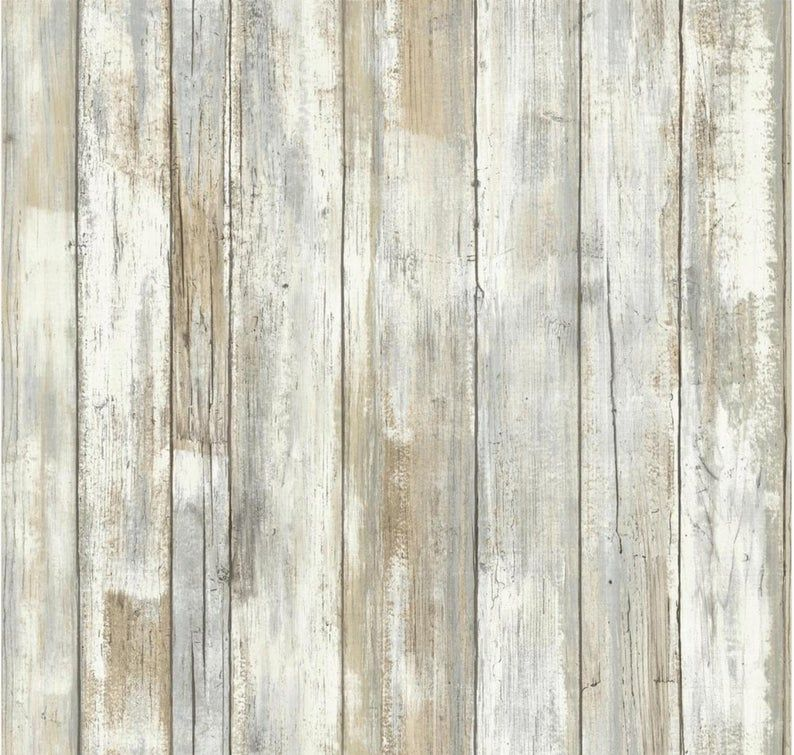 Whitewashed Old Barn Wood Shiplap Wallpaper Peel Stick Etsy How To Distress Wood Distressed Wood Wallpaper Wood Wallpaper