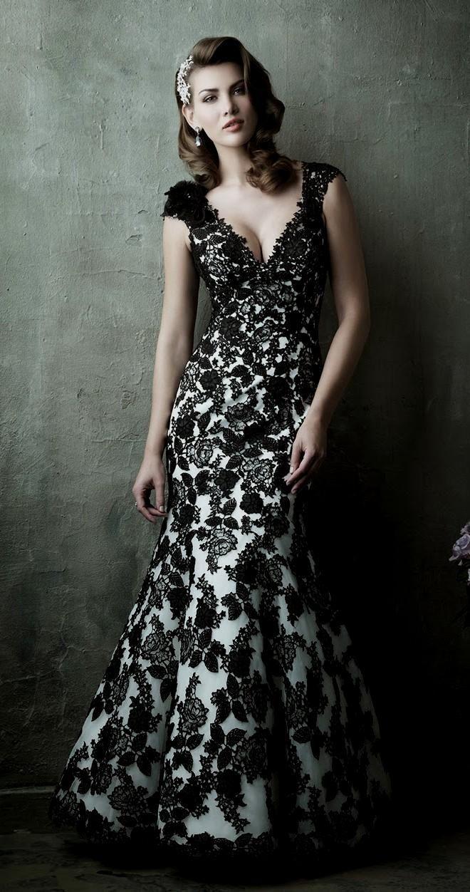 ideas of beautiful black and white wedding dresses halloween