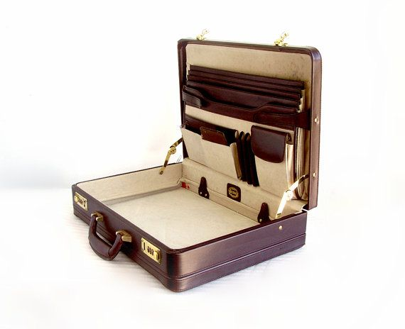 Vintage Leather Briefcase - Deep Brown Burgundy full grain leather attache case, Mens full size Briefcase, roomy laptop & more, Heritage 80s on Etsy, $48.00