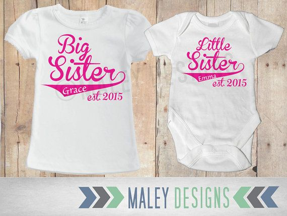 Matching Sibling Shirts Big Sister Little Sister Outfits Personalized Set Of Two Sister Outfits Sibling Outfits Matching Sibling Shirts