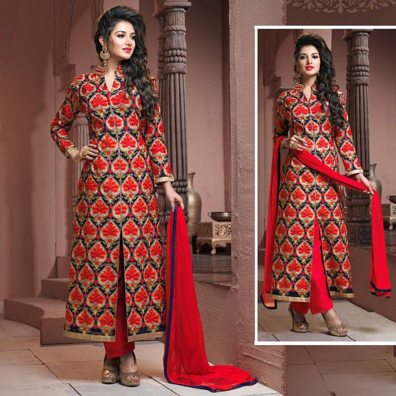 Indian Embroidered Bollywood Wedding Party Pakistani Salwar Kameez Suit Plazo
