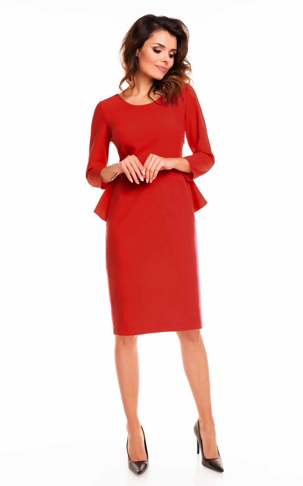 c6d0738ba788b Red 3/4 Sleeve Back Frill Midi Dress By AWAMA   Feelin' hot, not sweaty
