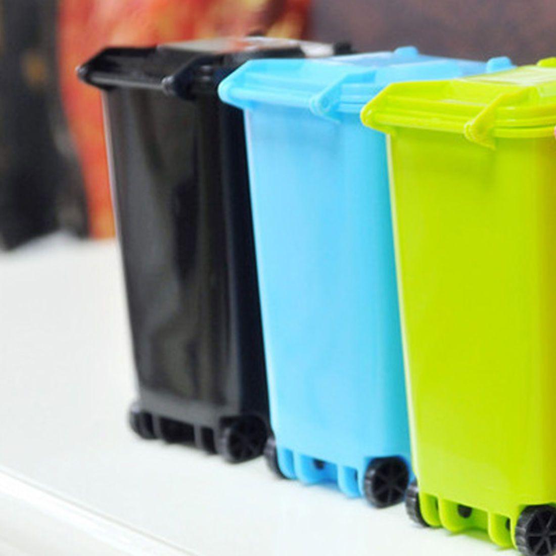 Plastic Trash Can Recycling Mini Dustbin Storage Bin Pen Holder ...