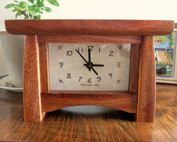 Bungalow Clock Mahogany Mantel Clock Wood Clock By Tanteandoom