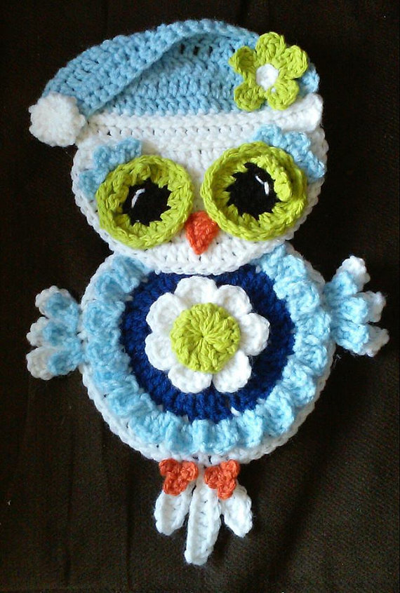 Crochet Winter Owl Potholder/Wall Decoration Pattern Only | Eule ...