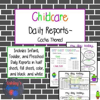 Cactus Themed Childcare Daily Reports (Daycare) | School