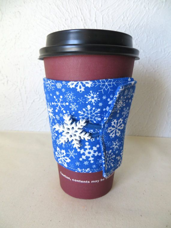 Fabric Coffee Cozy Blue Snowflake Design by ThreadBasket on Etsy