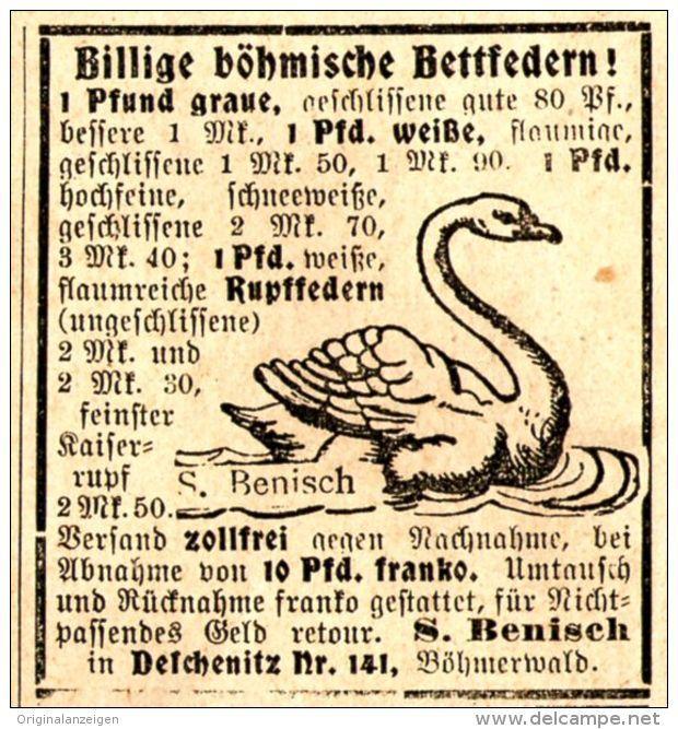 Original-Werbung/ Anzeige 1907 - BÖHMISCHE BETTFEDERN / MOTIV SCHWAN / BENISCH DESCHENITZ / BÖHMEN - ca. 45 x 45 mm