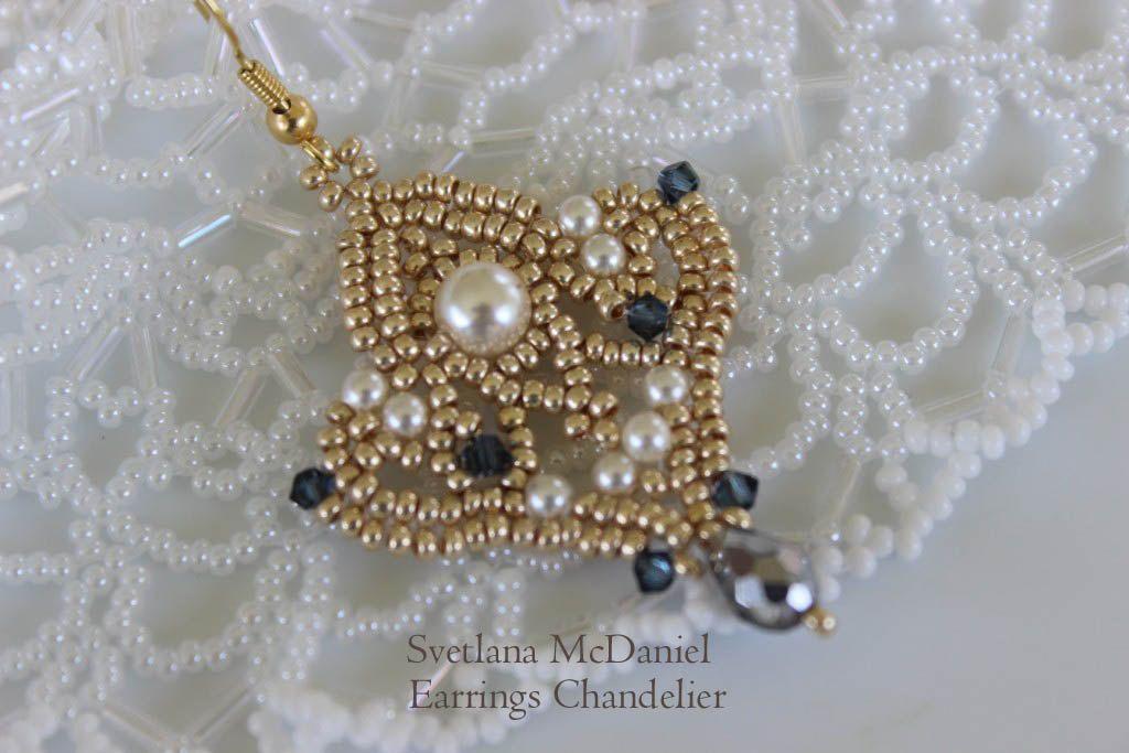 Pdf Tutorial Seed Beads Earrings Pattern Chandelier Swarovski Pearls Crystals Beadweaving