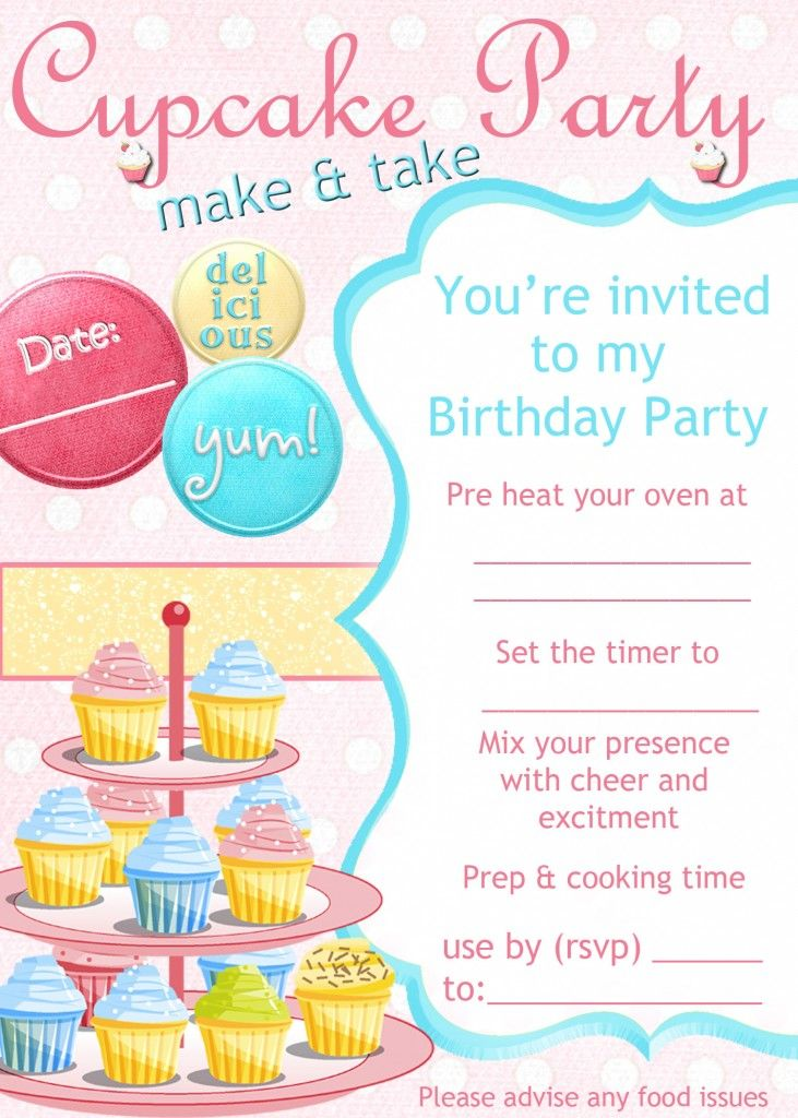 a cupcake decorating party invitation
