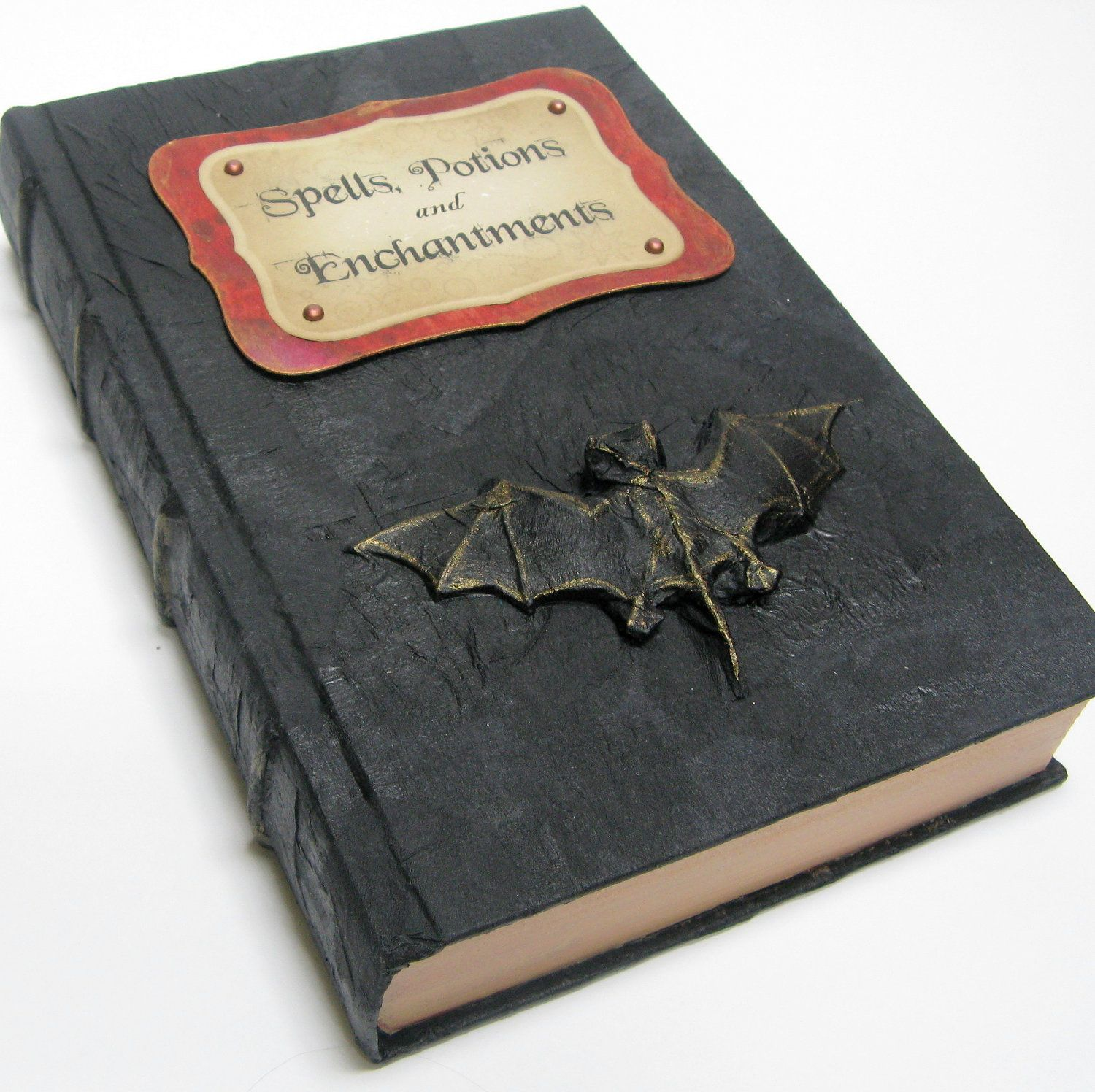 Old Book Cover Crafts : A book of dark spells recycled books black construction
