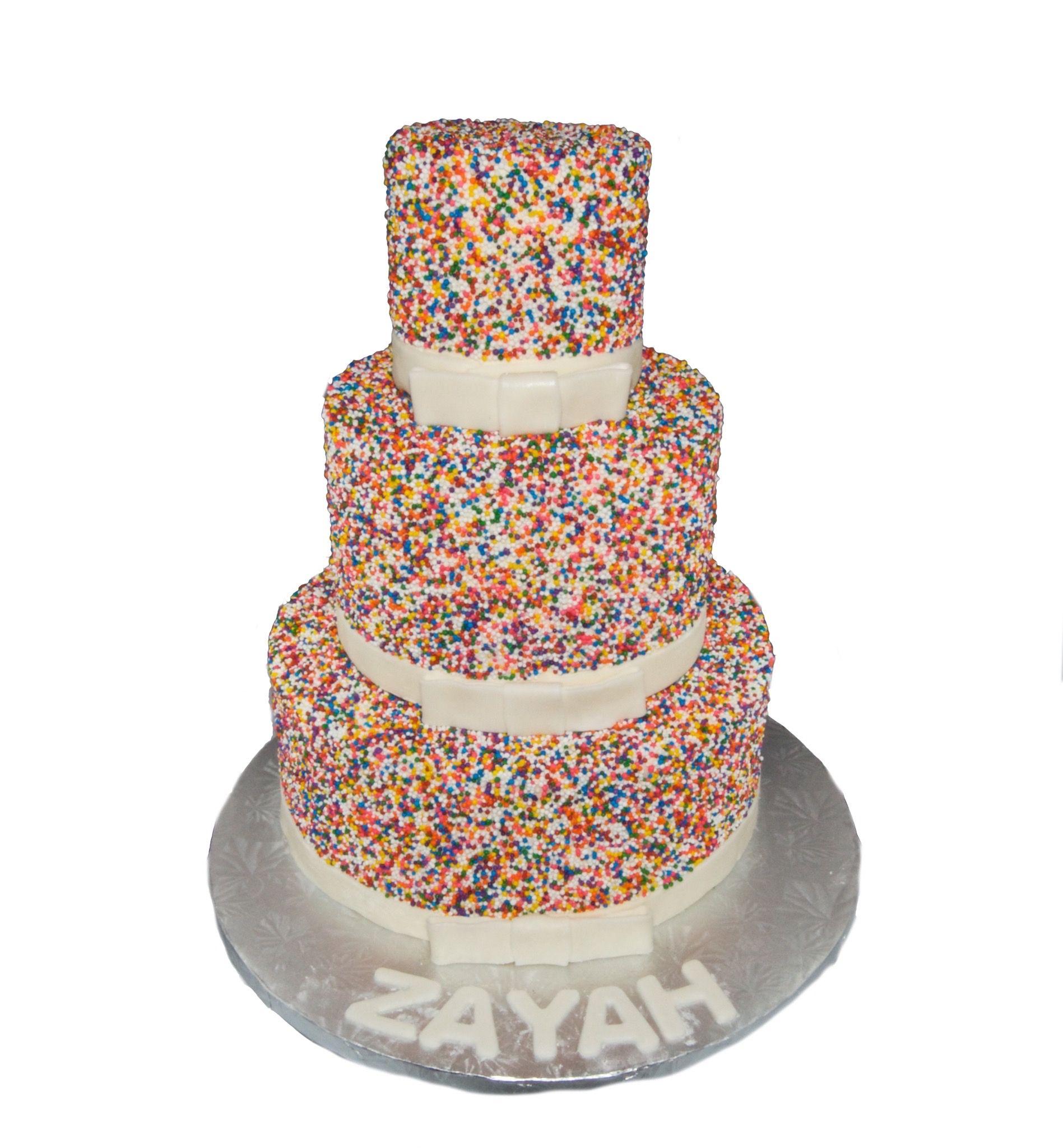 chocolate cake with rainbow sprinkles
