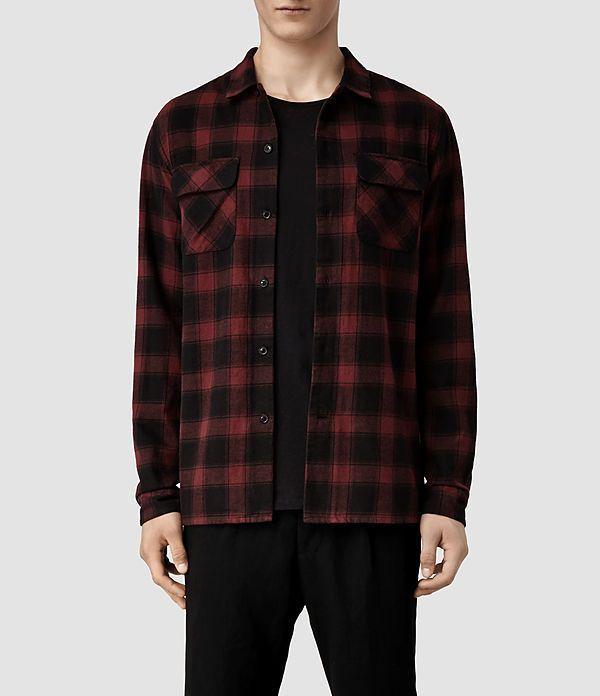 checked overshirt casual shirt mens red button up gift for him grunge shirt 90s shirt Plaid mens vintage shirt retro shirt