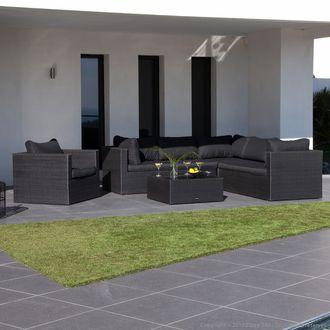 Salon de jardin bas 6 places en r sine tress e + table basse ...