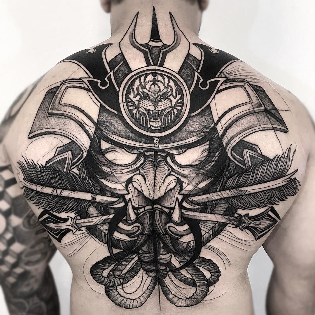 samurai mask tattoo black work frank carrilho hautnah. Black Bedroom Furniture Sets. Home Design Ideas
