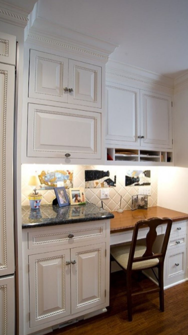 Do Not Like These Cabinets Or Trim But A Sample Of A Potential Desk Bar Combo With Two Levels May Be A Silly Idea Kitchen Desk Areas Kitchen Desks Desk Areas