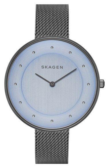 Skagen 'Gitte' Round Slim Mesh Strap Watch, 38mm available at #Nordstrom