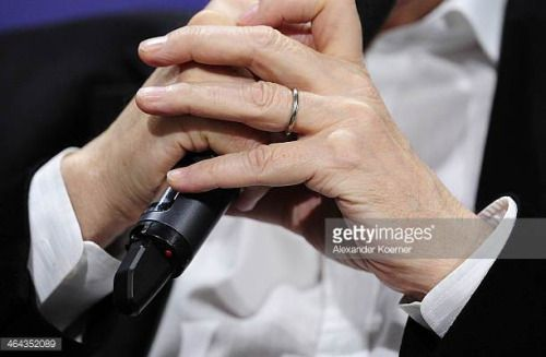 Superb GARBSEN GERMANY JANUARY The wedding ring of Actor Sky Du Mont is pictured during an interview at a local furniture shop Moebel Hesse while speaking to