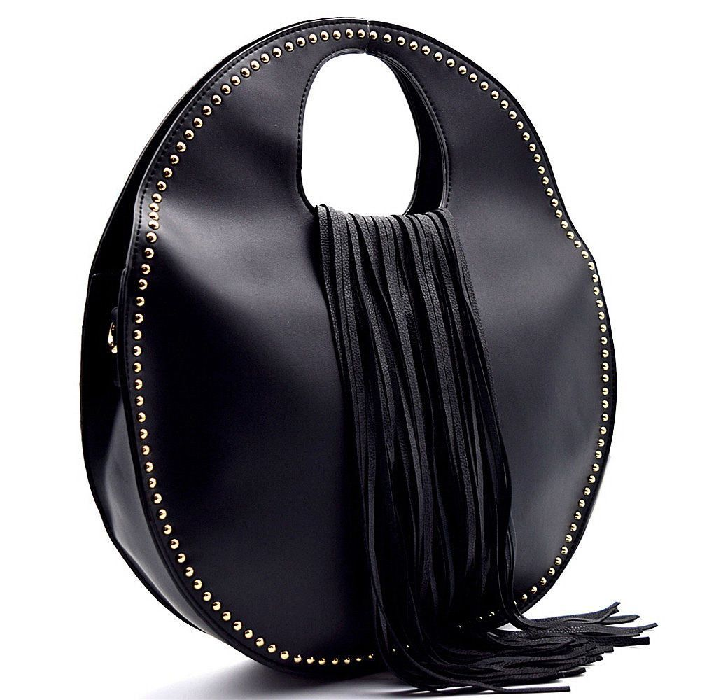 Handbag REPUBLIC® Fashion Inspired, Fringed Round Satchel w/ Strap- Black