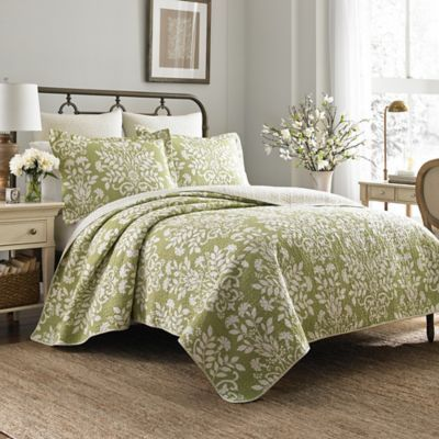 Laura Ashley Rowland Full Queen Quilt Set In Light Green