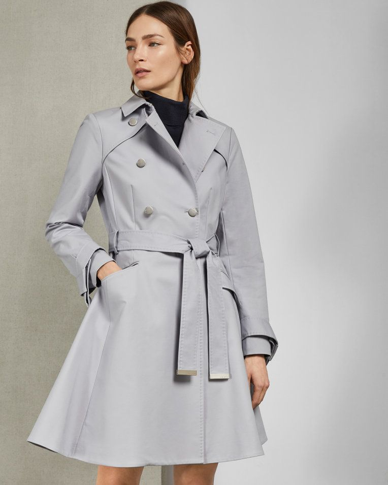 0e8fbb07c Knot cuff detail cotton trench coat - Gray