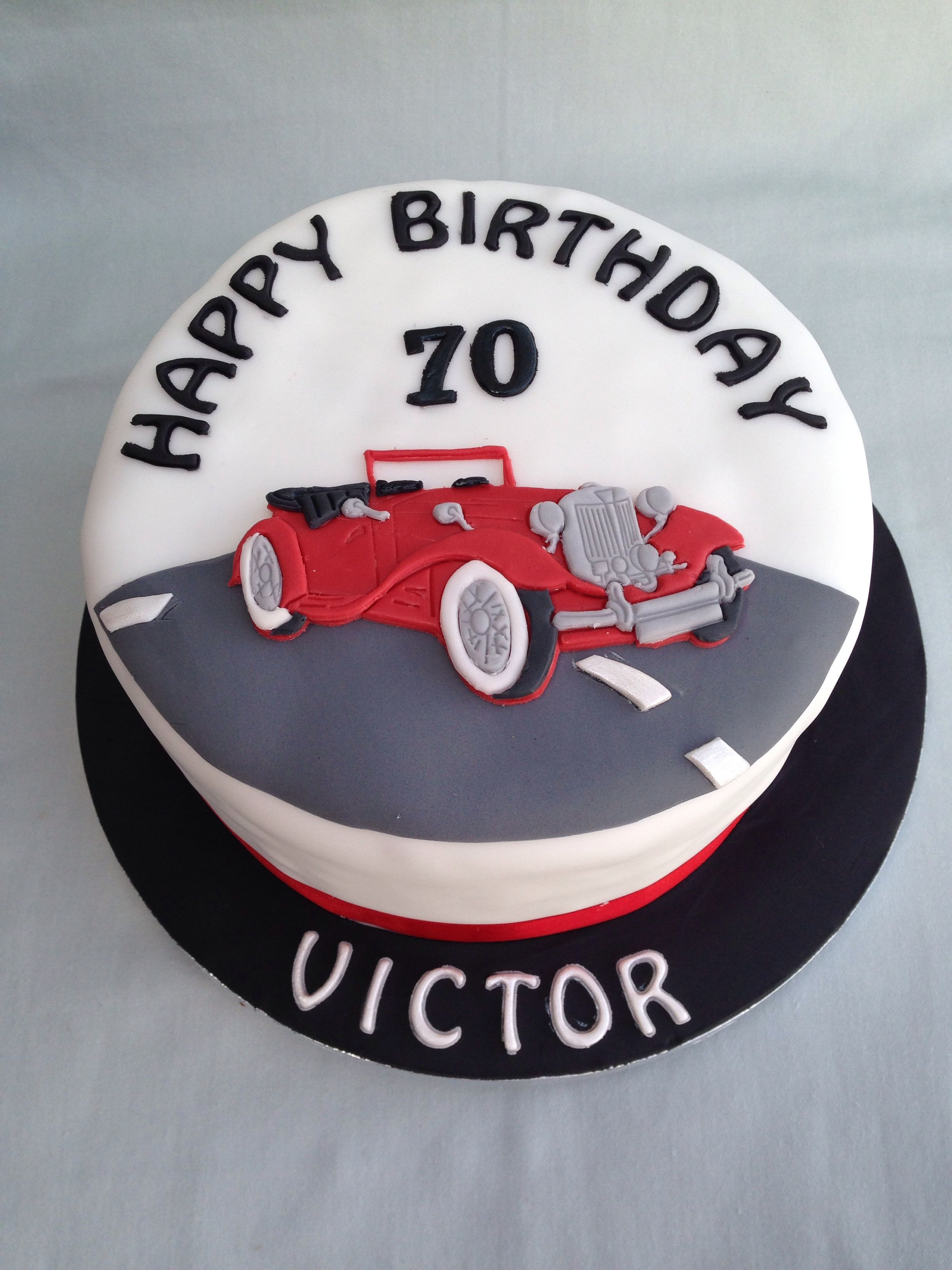 Vintage Car Theme Birthday Cake For A 70th Birthday