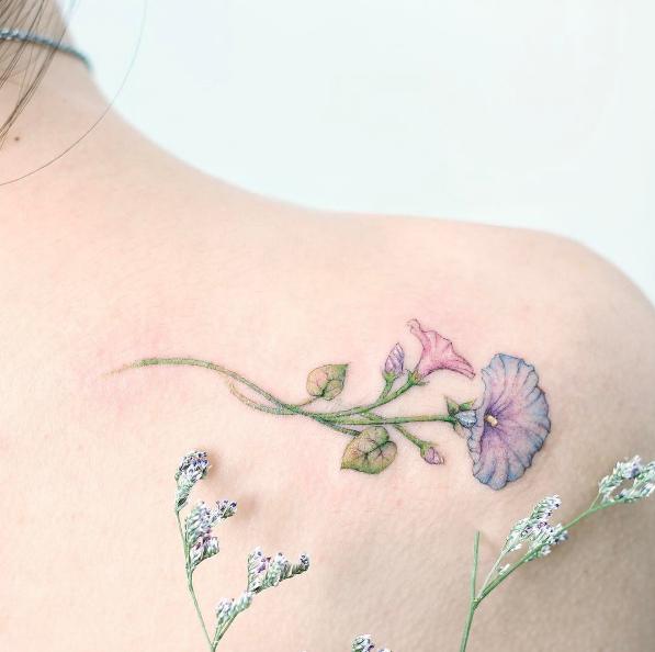 Morning Glory Tattoo By Mini Lau Pastel Tattoo Girly Tattoos Neck Tattoo