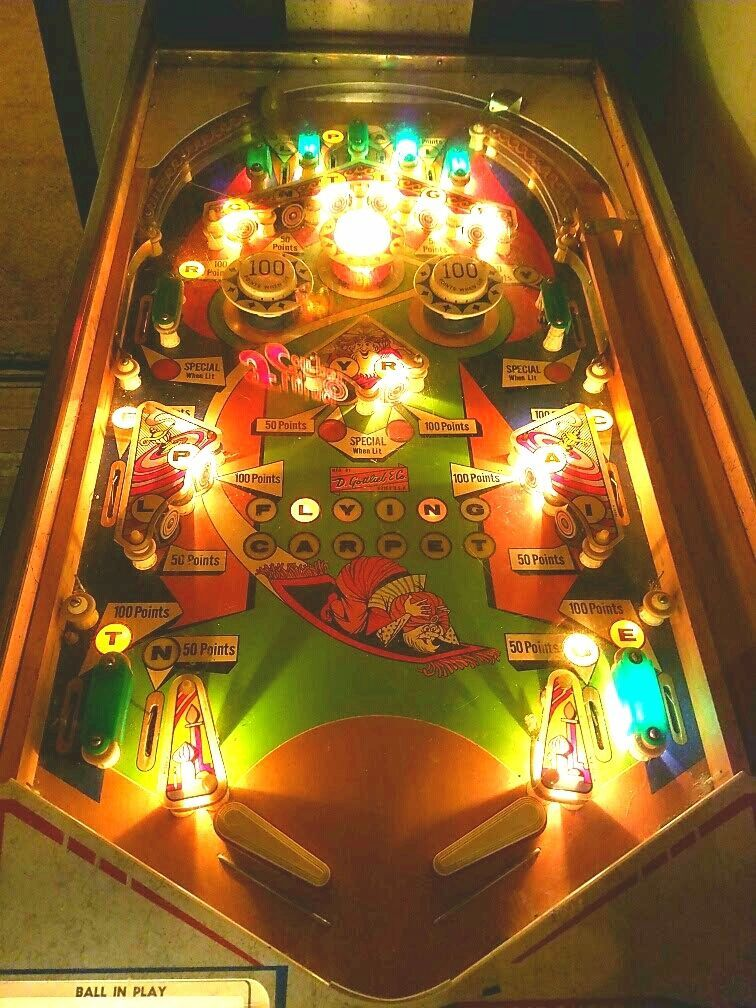 Gottlieb Flying Carpet Pinball Playfield 1972 Pinball Video Game Machines Penny Arcade