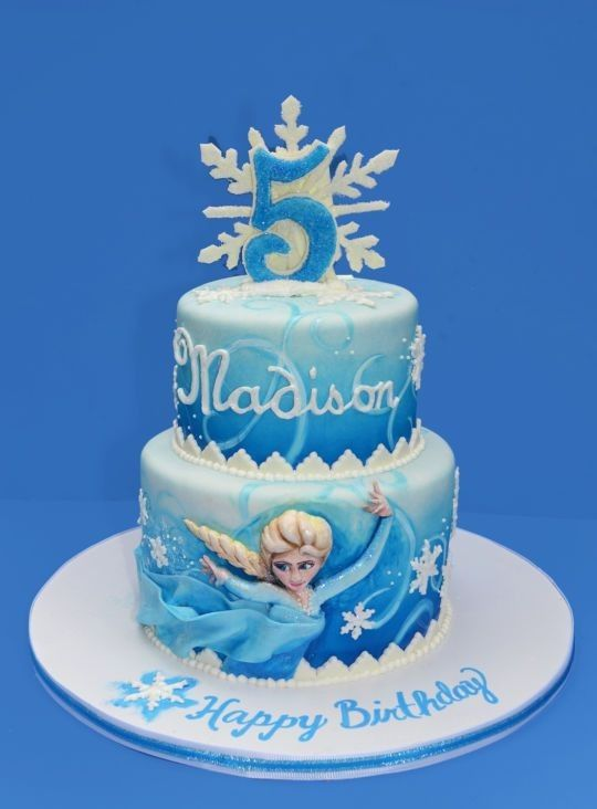 Frozen Elsa snowflake birthday cake 2014 Halloween party blue
