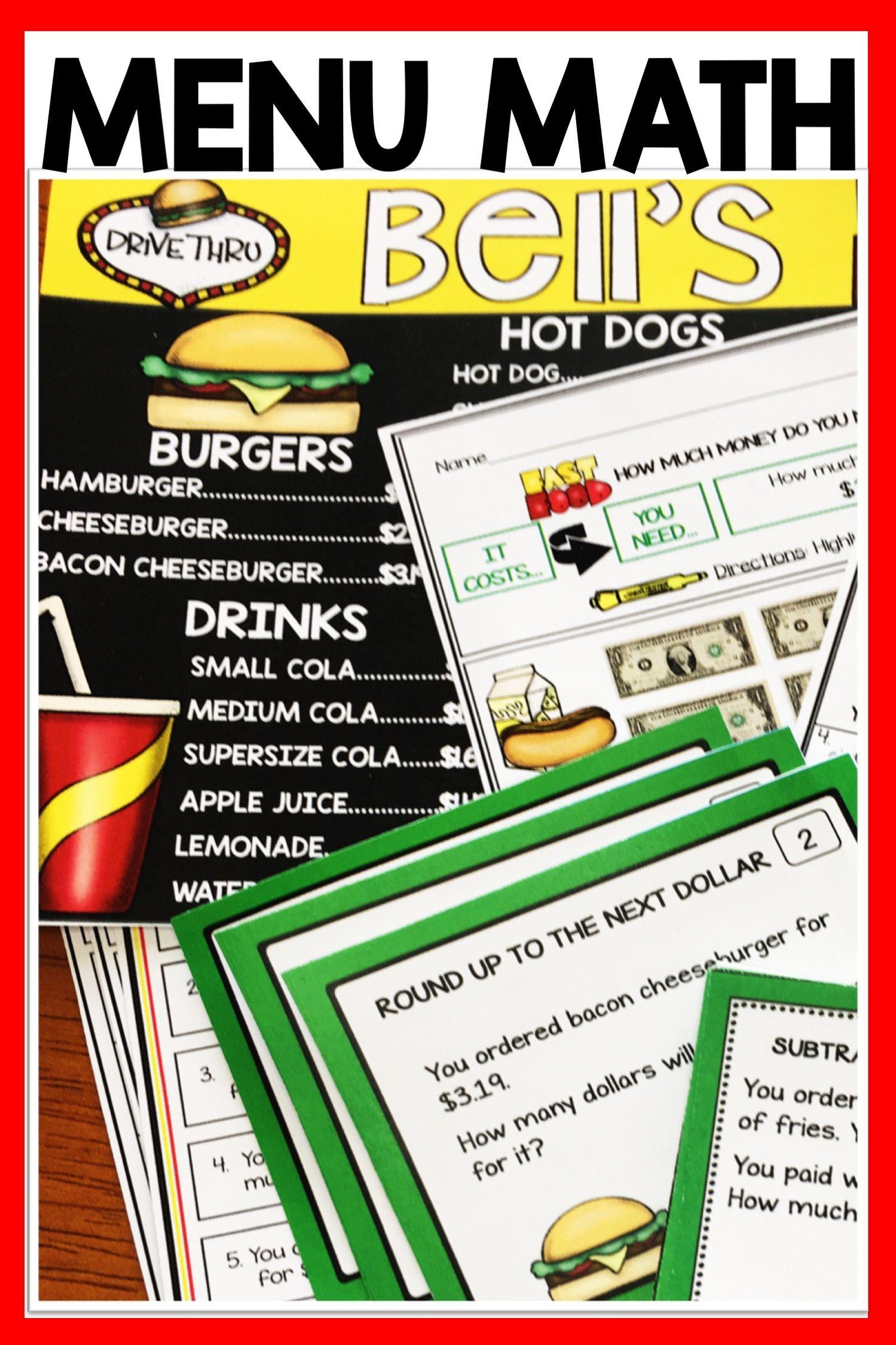 Money Worksheets And Task Card Bundle Menu Math Money Worksheets Math Math Worksheets