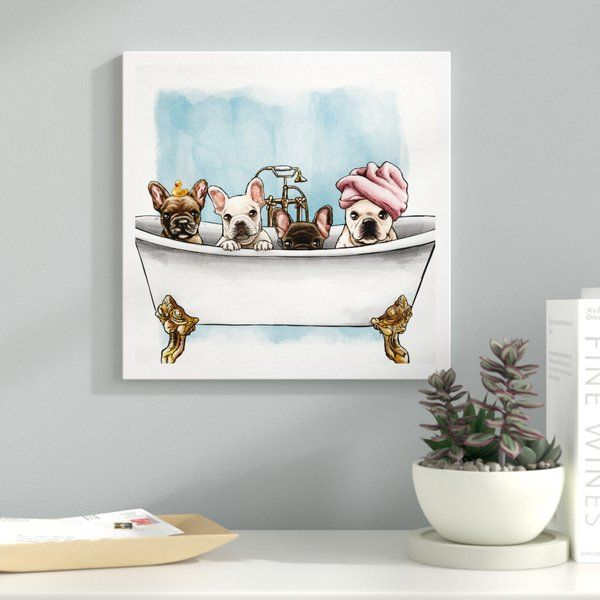 'Frenchies In The Tub Animals' Picture Frame Graphic Art