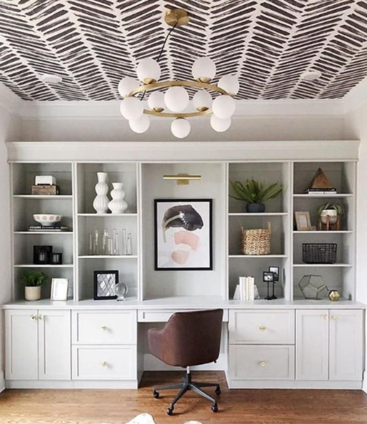 Herringbone Wallpaper in 2021   Home, Home office design, Home office decor