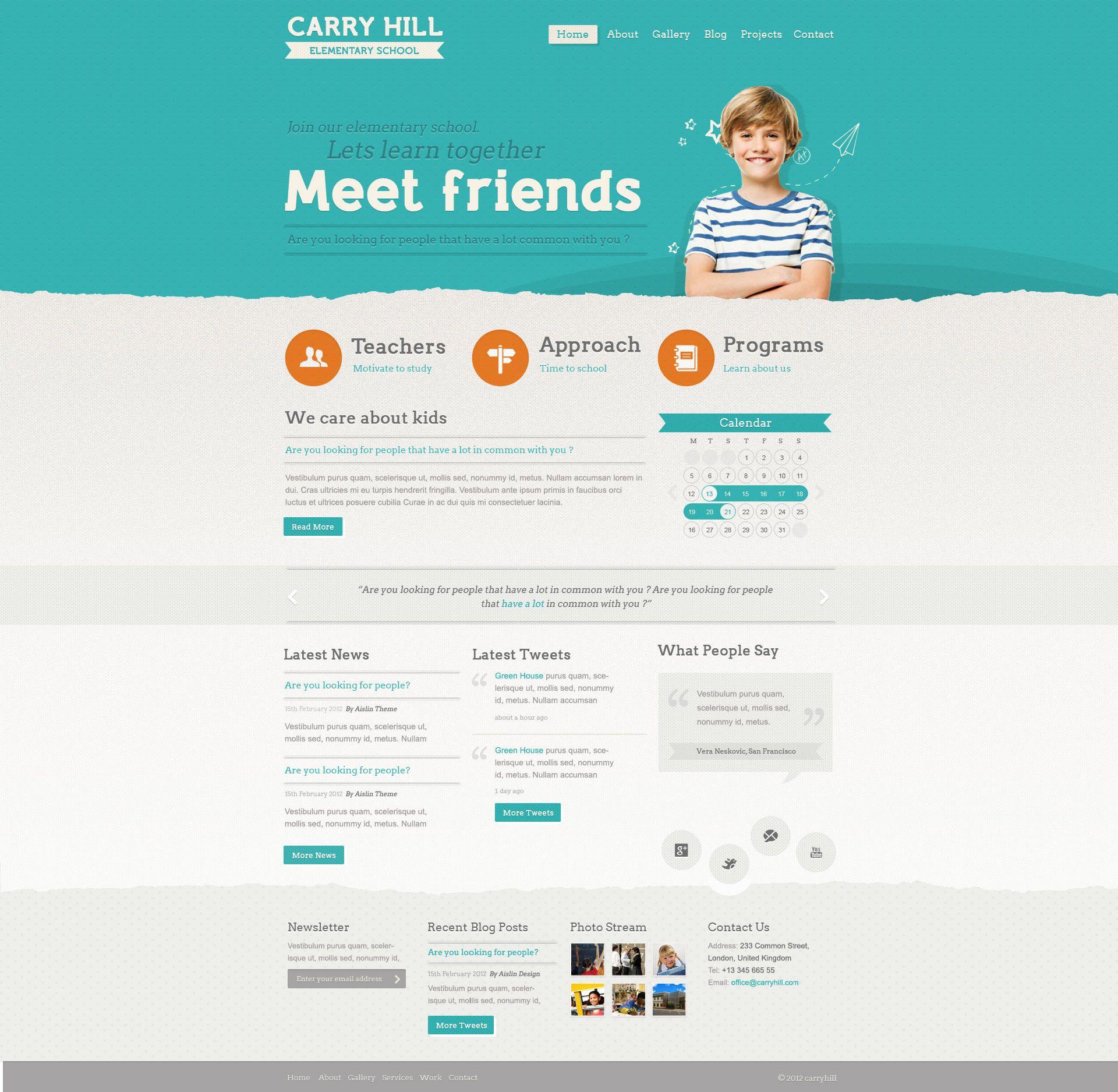 Carry Hill Elementary School Psd Template Web Design Web Design Contract Elementary Schools
