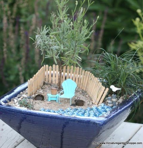 Miniature Gardens With A Beach Theme In Pots And Baskets Beach