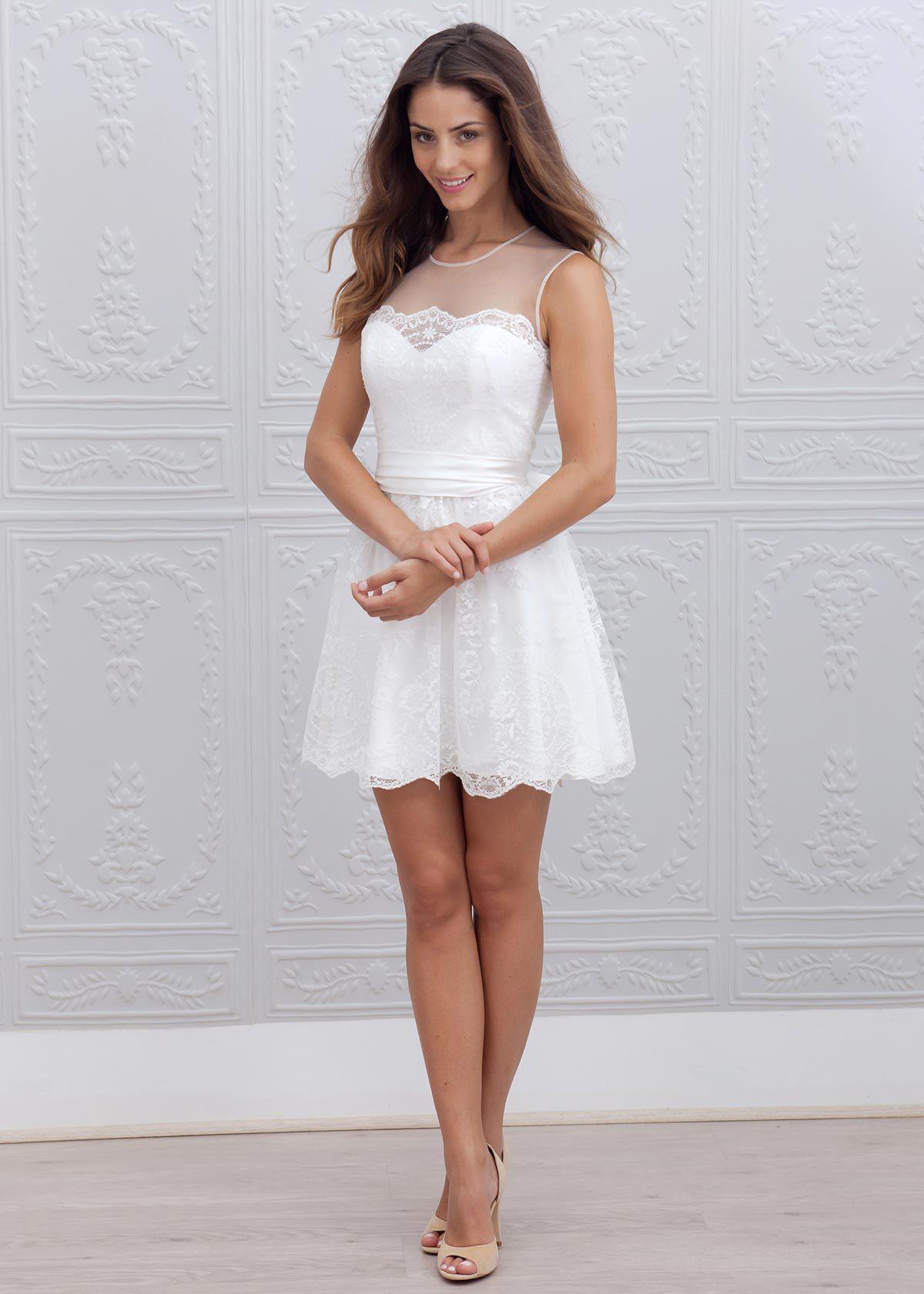 Ivory Lace Sheer Back Short Wedding Dress in 2020