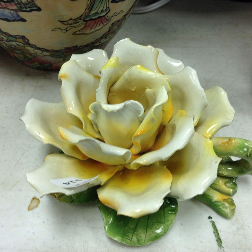 Vintage crown n capodimonte made italy flower yellow rose