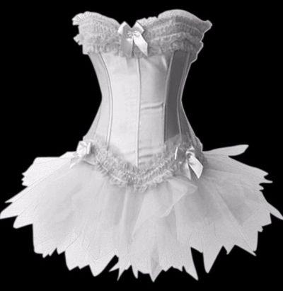 white satin burlesque corset with organza tutu satin bows