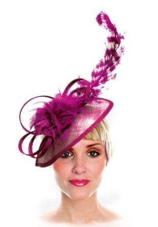 Sinamay Fascinator with Signature Accents M32 Fuchsia Pink