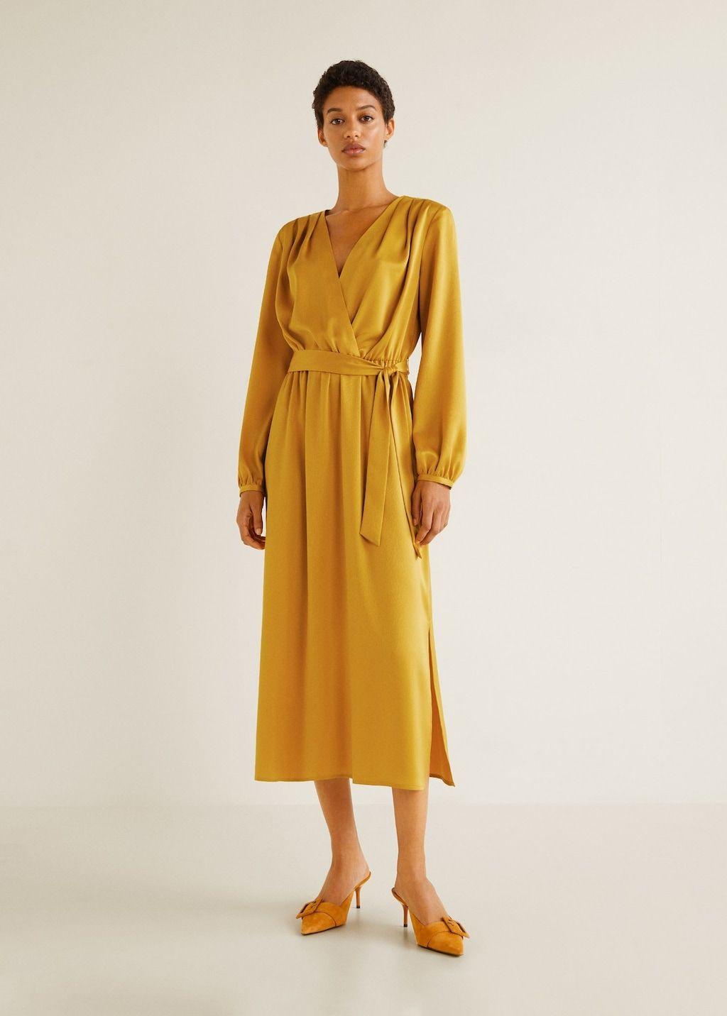 Uzun Saten Elbise Kadin Mango Turkiye Moda Stilleri The Dress Elbise