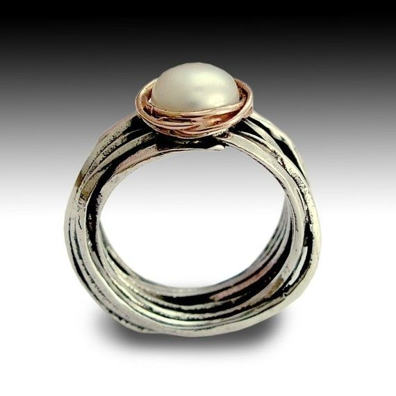 Sterling Silver and Rose Gold Ring Blue Opal by artisanlook