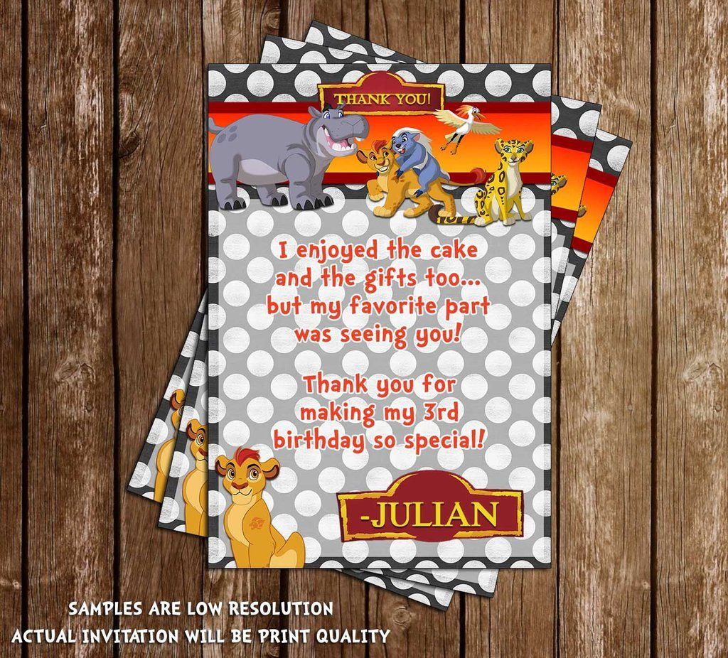 Printable Birthday Party Invitation Card Detroit Lions: Disney's The Lion Guard