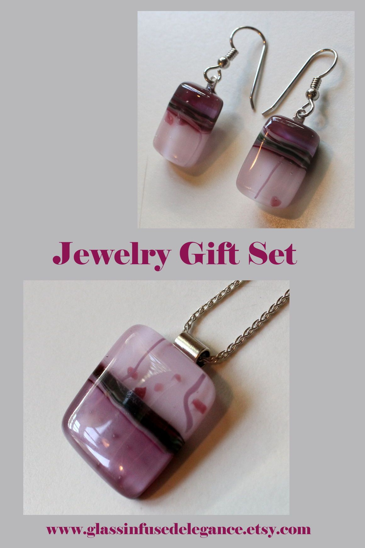 Modern gift set with pink fused glass pendant necklace and earrings