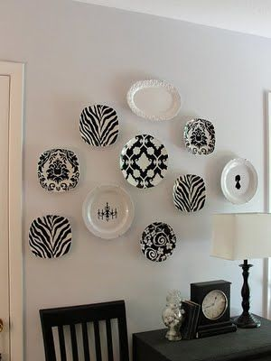 Love the black and white plate wall