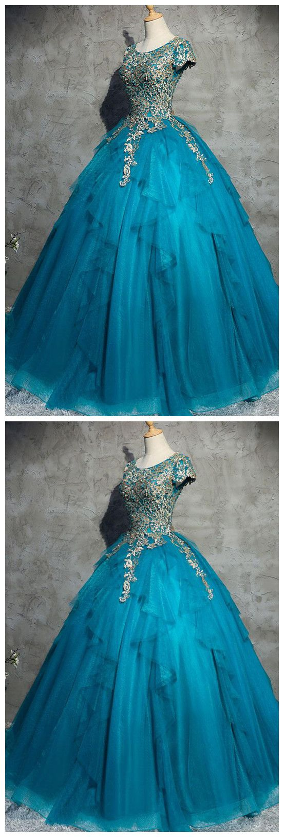 Unique blue tulle lace top round neck winter formal prom dresses ...